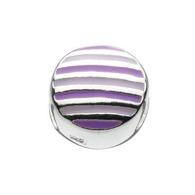 Sterling Silver Purple And White Enameled Stripes Round Bead