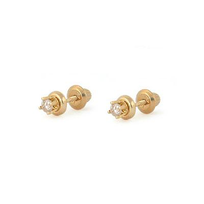 14K Yellow Gold 0.14 TCW Diamond Screw Back Earrings For Girls Of All Ages