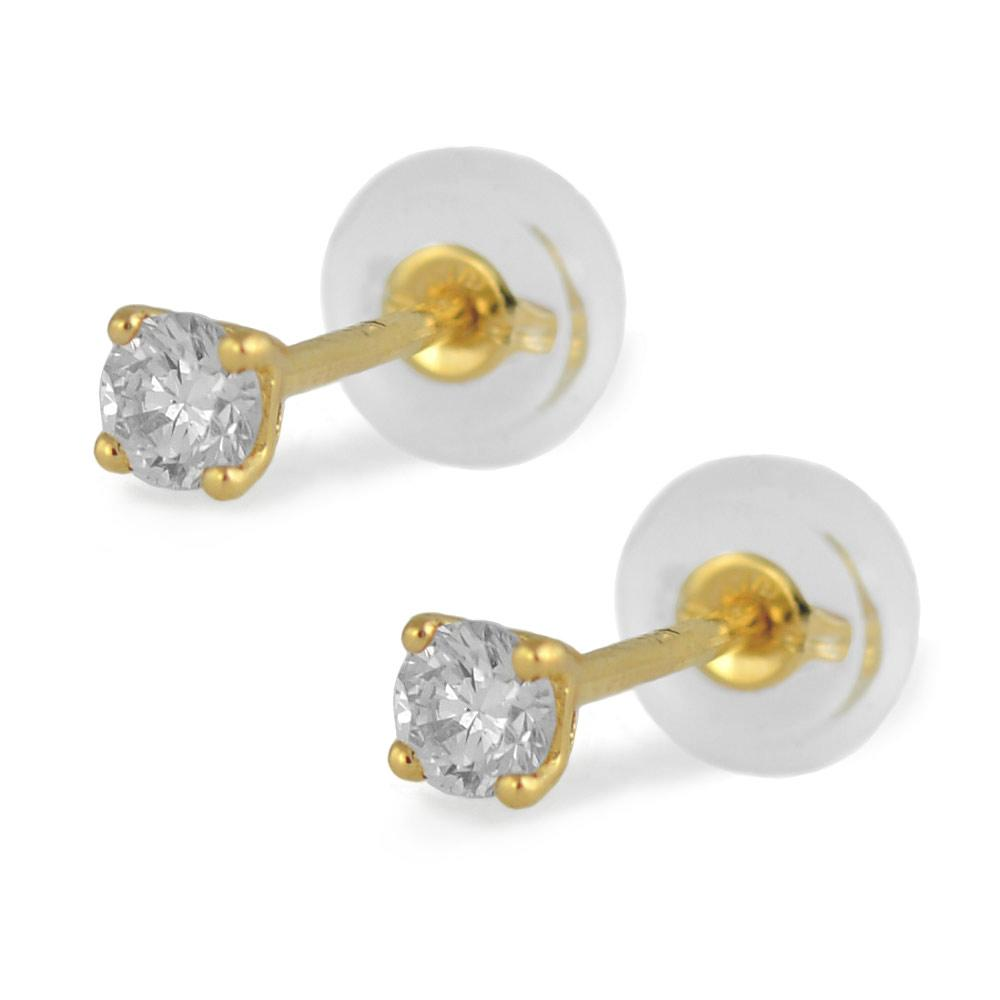 18K Yellow Gold 0.20 Carat Diamond Silicone Back Earrings For Girls Of All Ages