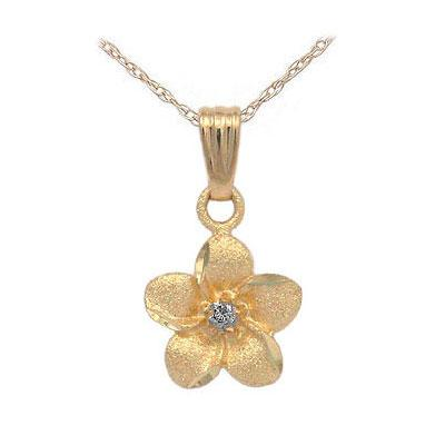 Girls 14K Yellow Gold Diamond Accented Plumeria Flower Pendant Necklace (15 In)