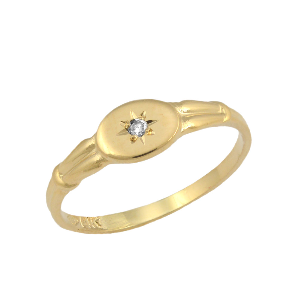 Size 3 Toddlers And Children 14K Yellow Gold Diamond Ring For Girls