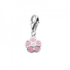 Sterling Silver Enameled Flower Lobster Clasp Charm For Bracelet