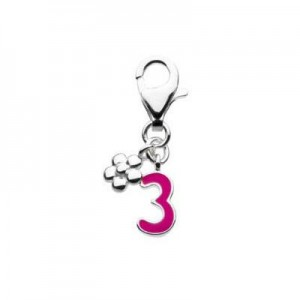 Sterling Silver Enameled Number Three Lobster Clasp Charm For Bracelet