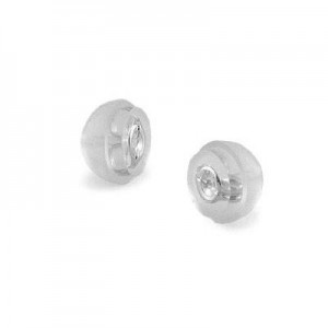 A Pair of 14K White Gold Core Silicone Push On Backs