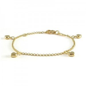 5 3/4 In Children 18k Gold Heart Charm Rolo Chain Bracelet For Girls