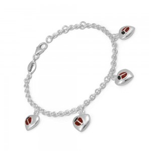 Adjustable Girls Silver Red Ladybug Heart Charms Bracelet (5 1/2-6 1/2 in)
