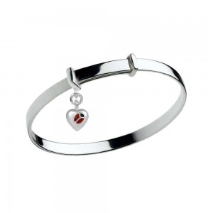 Silver Adjustable Ladybug Heart Charm Bangle Kids Bracelet (up to 5 1/4 in)