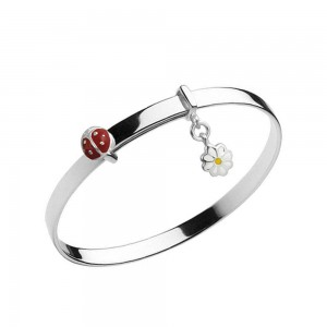 Girl Jewelry - Silver Ladybug & Daisy Charm Bangle Bracelet Up To 5 1/4 inches