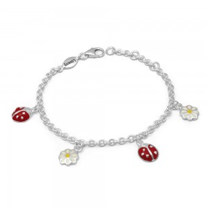 Children & Tween Girls Silver Ladybug & Daisy Flower Charm Bracelet