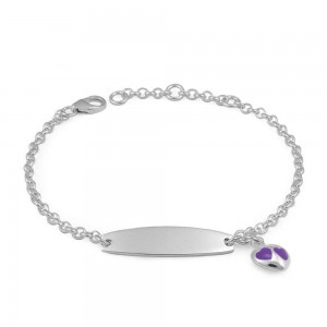 Adjustable Sterling Silver Purple Enamel Heart Charm Girls ID Bracelet