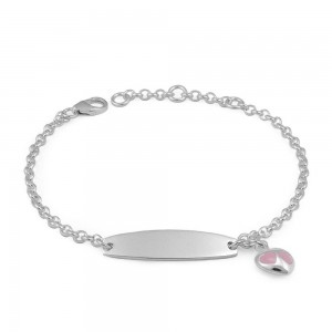 Adjustable Sterling Silver Pink Enamel Heart Charm Girls ID Bracelet