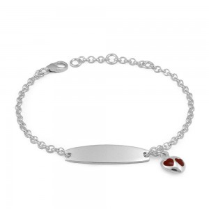 Adjustable Sterling Silver Red Enamel Heart Charm Girls ID Bracelet