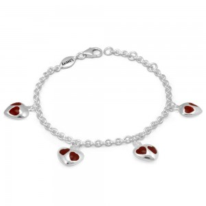 Girl's Sterling Silver Red Enamel Heart Charms Adjustable Bracelet