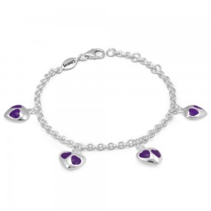 Girl's Sterling Silver Purple Enamel Heart Charms Adjustable Bracelet