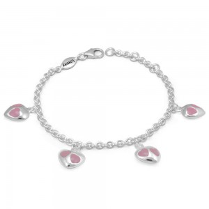 Girl's Sterling Silver Pink Enamel Heart Charms Adjustable Bracelet