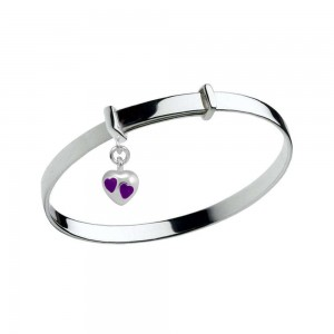 Kid's Jewelry - Sterling Silver Purple Heart Charm Adjustable Bangle