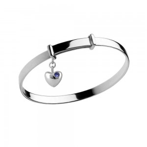 Girl's Silver February Birthstone Heart Charm Adjustable Bangle Bracelet