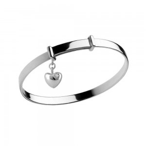 Girl's Silver April Birthstone Heart Charm Adjustable Bangle Bracelet