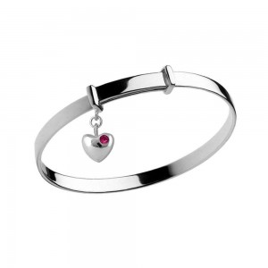 Girl's Silver July Birthstone Heart Charm Adjustable Bangle Bracelet