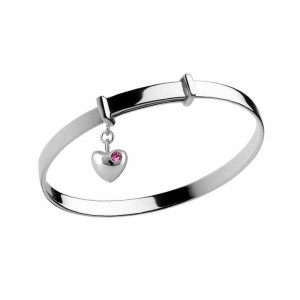 Girl's Silver October Birthstone Heart Charm Adjustable Bangle Bracelet