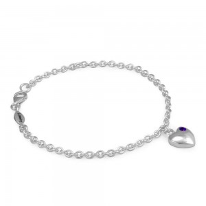 Girls Sterling Silver February Birthstone Heart Charm Bracelet (5 1/2 or 6 1/2 in)