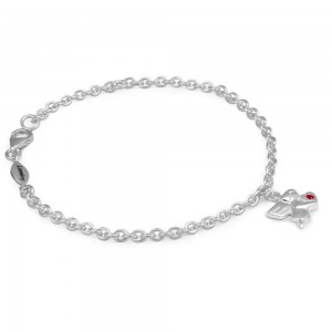 Girls Silver January Birthstone Angel Charm Adjustable Bracelet (5 1/2 or 6 1/2 in)