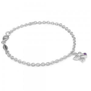 Girls Silver February Birthstone Angel Charm Adjustable Bracelet (5 1/2 or 6 1/2 in)