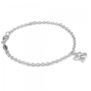 Girls Silver March Birthstone Angel Charm Adjustable Bracelet (5 1/2 or 6 1/2 in)