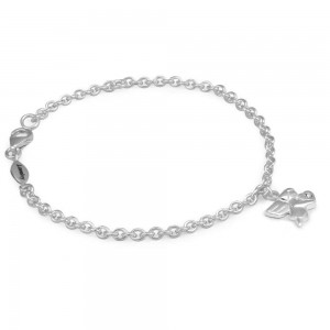 Girls Silver April Birthstone Angel Charm Adjustable Bracelet (5 1/2 or 6 1/2 in)