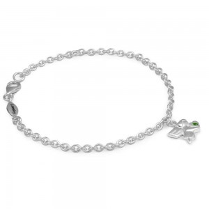 Girls Silver May Birthstone Angel Charm Adjustable Bracelet (5 1/2 or 6 1/2 in)
