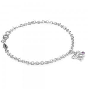 Girls Silver June Birthstone Angel Charm Adjustable Bracelet (5 1/2 or 6 1/2 in)