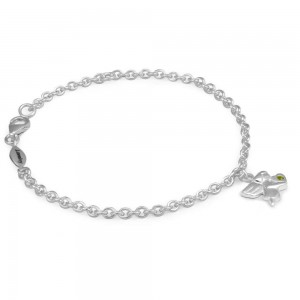 Girls Silver August Birthstone Angel Charm Adjustable Bracelet (5 1/2 or 6 1/2 in)