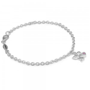 Girls Silver October Birthstone Angel Charm Adjustable Bracelet (5 1/2 or 6 1/2 in)