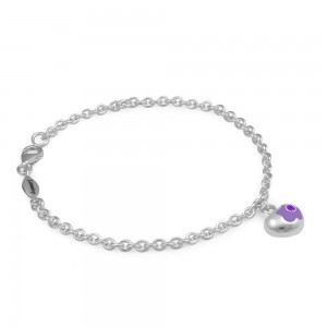 Sterling Silver June Birthstone Flower Heart Charm Girls Bracelet (5 1/2,6 1/2 in)