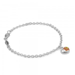 Sterling Silver November Birthstone Flower Heart Charm Girls Bracelet (5 1/2,6 1/2 in)