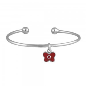 Silver January Birthstone Butterfly Charm Torque Bangle For Girls