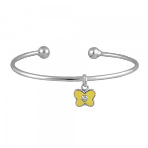 Silver April Birthstone Butterfly Charm Torque Bangle For Girls (up to 7 1/2 in)