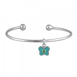 Silver May Birthstone Butterfly Charm Torque Bangle For Girls (up to 7 1/2 in)