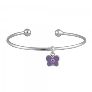 Silver June Birthstone Butterfly Charm Torque Bangle For Girls