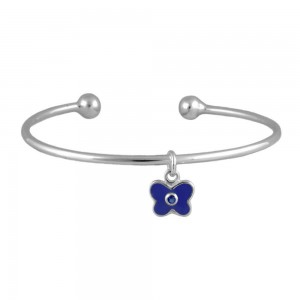 Silver September Birthstone Butterfly Charm Torque Bangle For Girls