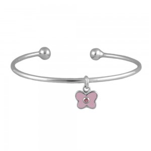 Silver October Birthstone Butterfly Charm Torque Bangle For Girls