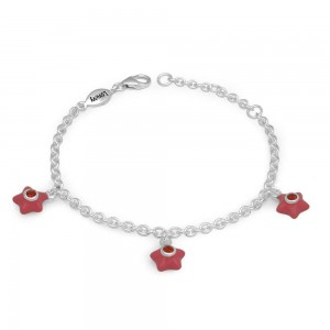Silver Girls January Birthstone Star Charm Bracelet (5 1/2-6 1/2 In)