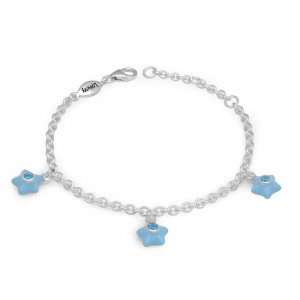 Silver Girls March Birthstone Star Charm Bracelet (5 1/2-6 1/2 In)