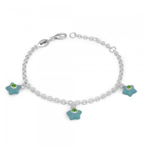 Silver Girls May Birthstone Star Charm Bracelet (5 1/2-6 1/2 In)