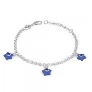 Silver Girls September Birthstone Star Charm Bracelet (5 1/2-6 1/2 In)