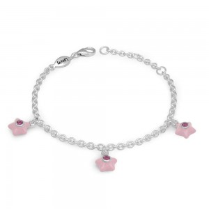 Silver Girls October Birthstone Star Charm Bracelet (5 1/2-6 1/2 In)