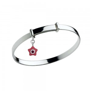 Sterling Silver Kids January Birthstone Star Charm Adjustable Bangle