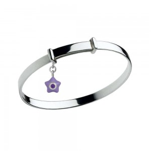 Sterling Silver Kids February Birthstone Star Charm Adjustable Bangle