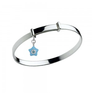 Sterling Silver Kids March Birthstone Star Charm Adjustable Bangle