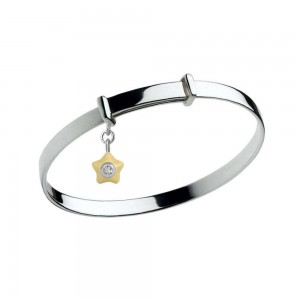 Sterling Silver Kids April Birthstone Star Charm Adjustable Bangle
